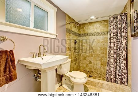 Bathroom With Purple Walls, Green Shower And Nice Curtains.