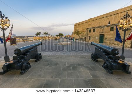 The cannons at the entrance of Auberge de Castille, Valletta, Malta