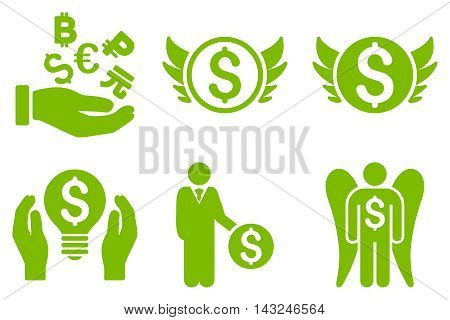 Angel Investor vector icons. Pictogram style is eco green flat icons with rounded angles on a white background.