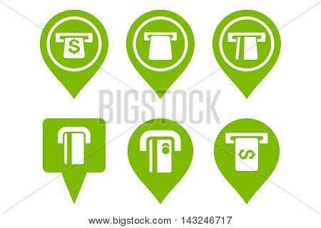 ATM Map Pointer vector icons. Pictogram style is eco green flat icons with rounded angles on a white background.