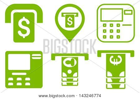 ATM Terminal vector icons. Pictogram style is eco green flat icons with rounded angles on a white background.