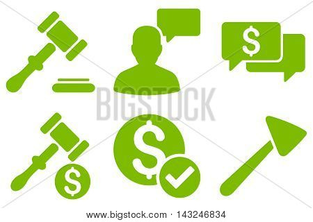 Auction vector icons. Pictogram style is eco green flat icons with rounded angles on a white background.