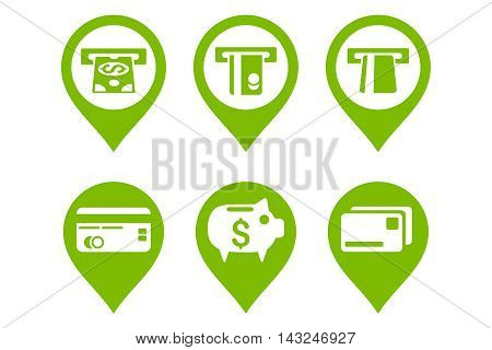 Bank ATM Pointer vector icons. Pictogram style is eco green flat icons with rounded angles on a white background.