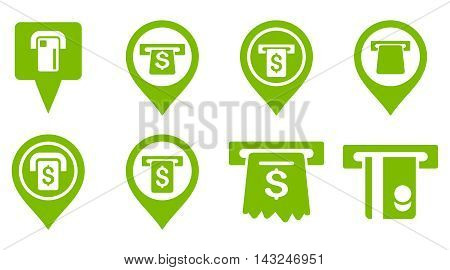 Bank ATM Pointers vector icons. Pictogram style is eco green flat icons with rounded angles on a white background.