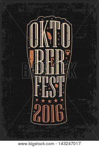 Typography poster. Beer glass on brown old paper background. lettering text in silhouette mug. Vintage vector engraving illustration. Advertising design for pub oktoberfest festival
