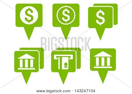 Bank Map Pointers vector icons. Pictogram style is eco green flat icons with rounded angles on a white background.