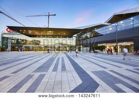 Vienna, Austria - August 14, 2016: Front View Of The Wien Hauptbahnhof, Main Railway Station In Vien