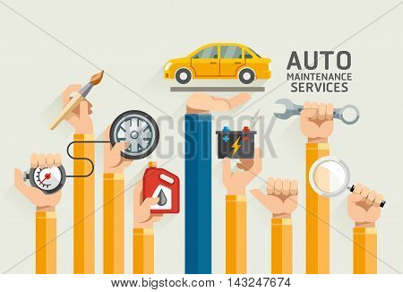 Auto Maintenance Services Flat Icons. Vector Illustrations.