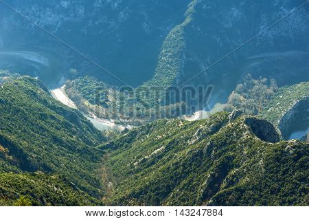 Amazing meander of  Nestos Gorge near town of Xanthi, East Macedonia and Thrace, Greece