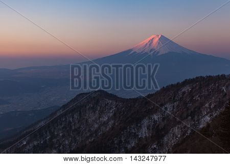 Mount Fuji during sunrise time in winter season seen from Top of Mt. Mitsutoge