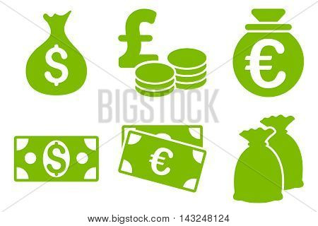 Cash Money vector icons. Pictogram style is eco green flat icons with rounded angles on a white background.