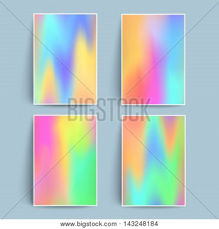 Fluid colors backgrounds set. Holographic effect. Applicable for gift card,cover,poster,brochure,magazine. Vector template.