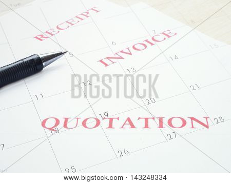 Composite of Pen with business document and white calendar.