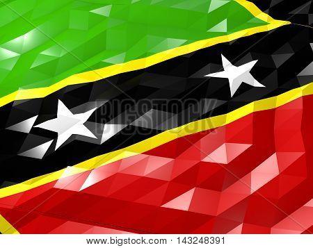 Flag Of Saint Kitts And Nevis 3D Wallpaper Illustration