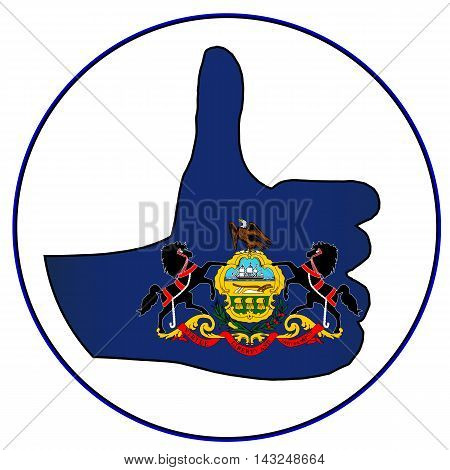 Pennsylvania Flag hand giving the thumbs up sign all over a white background