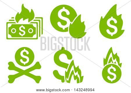 Fire Disaster vector icons. Pictogram style is eco green flat icons with rounded angles on a white background.