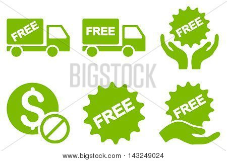 Free of Charge vector icons. Pictogram style is eco green flat icons with rounded angles on a white background.