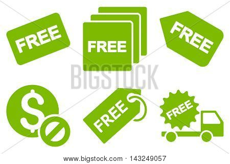 Free Tag vector icons. Pictogram style is eco green flat icons with rounded angles on a white background.