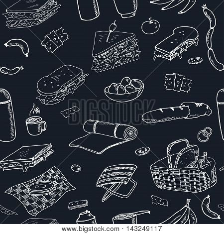 Summer picnic doodle seamless pattern. Various meals, drinks, objects, sport activities. Vector illustration