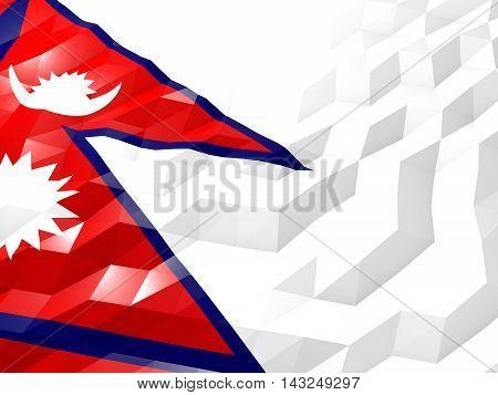 Flag Of Nepal 3D Wallpaper Illustration