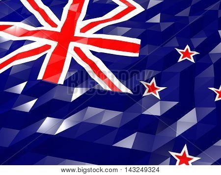 Flag Of New Zealand 3D Wallpaper Illustration