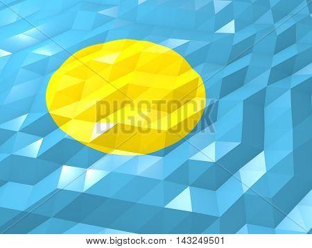 Flag Of Palau 3D Wallpaper Illustration