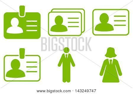 Person Account Card vector icons. Pictogram style is eco green flat icons with rounded angles on a white background.