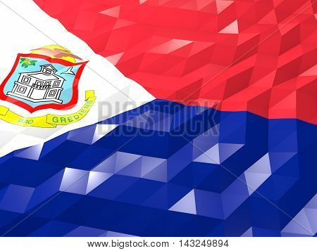 Flag Of Sint Maarten (dutch Part) 3D Wallpaper Illustration