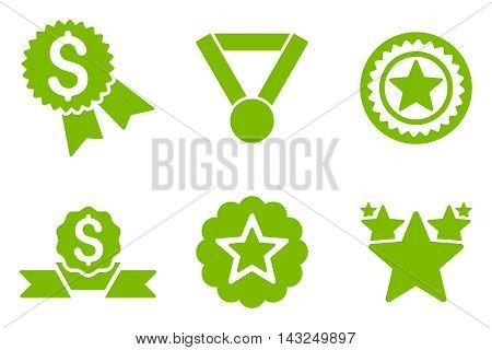 Reward vector icons. Pictogram style is eco green flat icons with rounded angles on a white background.