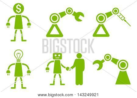Robot vector icons. Pictogram style is eco green flat icons with rounded angles on a white background.