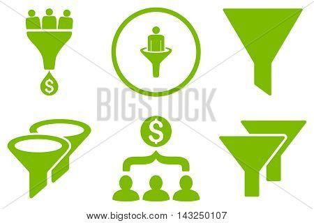 Sales Filter vector icons. Pictogram style is eco green flat icons with rounded angles on a white background.