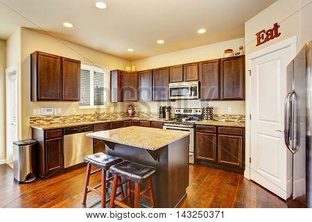 Kitchen Room Interior With Deep Brown Cabinets, Hardwood Floor