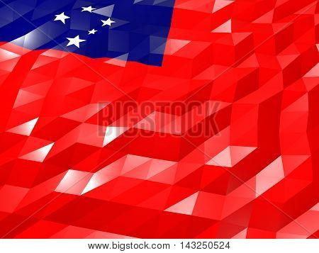 Flag Of Samoa 3D Wallpaper Illustration