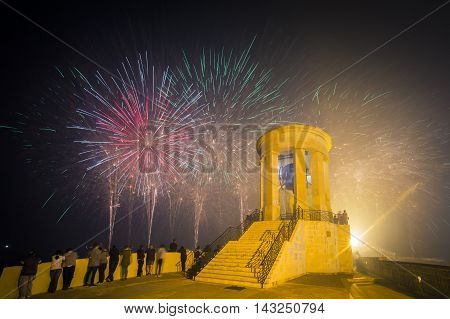 Malta Fireworks Festival at Valletta from Siege Bell War Memorial