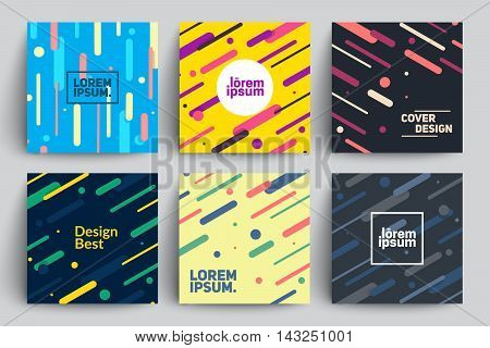 Set of Trendy Cards with Flat Dynamic Design. Applicable for Covers, Placards, Posters, Flyers and Banner Designs