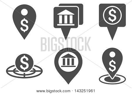 Bank Location vector icons. Pictogram style is gray flat icons with rounded angles on a white background.