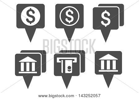 Bank Map Pointers vector icons. Pictogram style is gray flat icons with rounded angles on a white background.