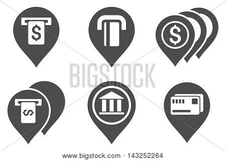 Banking ATM Pointers vector icons. Pictogram style is gray flat icons with rounded angles on a white background.