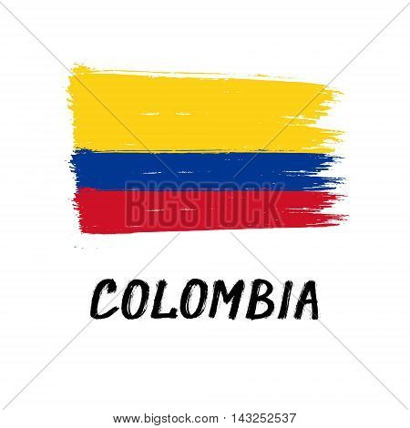 Flag Of Colombia - Color Grunge Icon