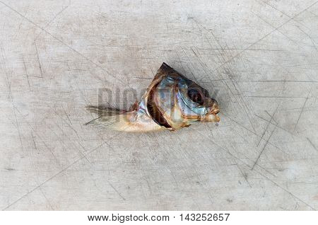 head dried fish wooden background with soft edges