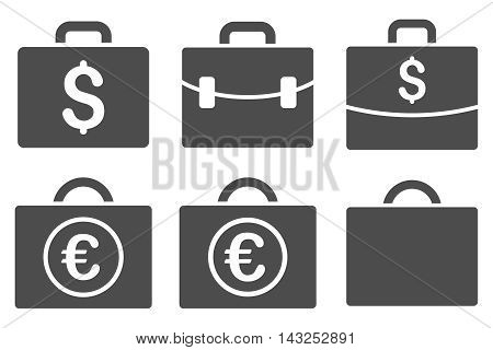 Business Case vector icons. Pictogram style is gray flat icons with rounded angles on a white background.