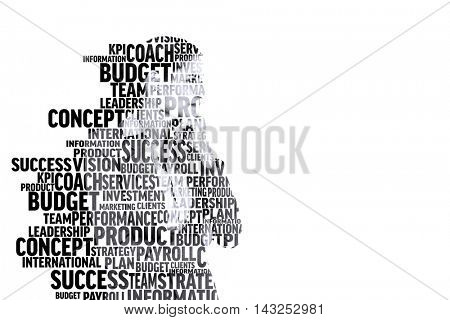 Businesswoman in buzzwords against white background with vignette