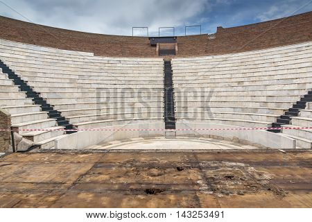 Amphitheater in Roman Odeon, Patras, Peloponnese, Western Greece