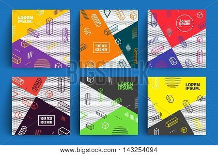 Future geometric backgrounds set. Simple isometric shapes composition. Hipster colors. Original trendy design. Eps10 vector template.