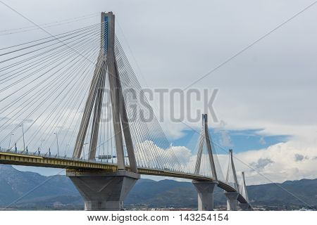 Seascape with The cable bridge between Rio and Antirrio, Patra, Western Greece