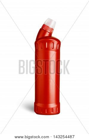 Red plastic bottle for liquid laundry detergent cleaning agent bleach or fabric softener. With clipping path