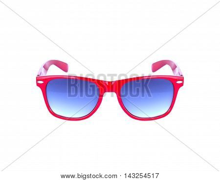 Red sunglasses isolated over the white background