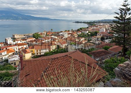 Panorama of Nafpaktos town and cable bridge between Rio and Antirrio, Western Greece