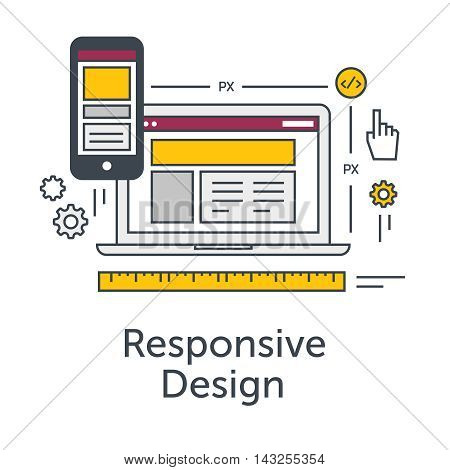 Thin line flat design concept banner for Web Development. Responsive design icon. Responsive website grid on laptop and smartphone. Modern vector illustration