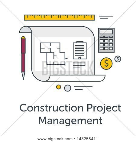 Construction Project Management thin line flat icons. Architects workplace illustration. Architecture planning on paper. Concept illustration for architectural project, technical project.